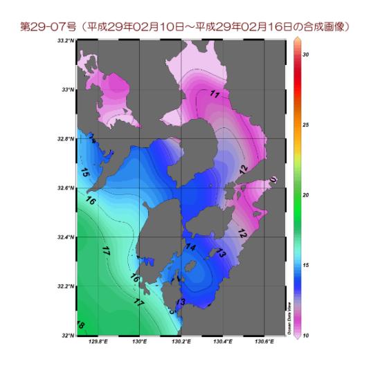有明海・八代海周辺表面水温図 平成29年2月10日~16日