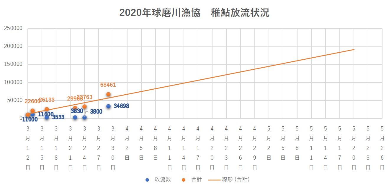 2020年球磨川漁協 稚鮎放流状況20200331